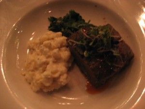 Chile-braised Shortrib with sauteed greens and pozole risotto