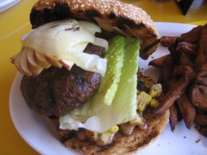 Overcooked buffalo burger from Snackbar