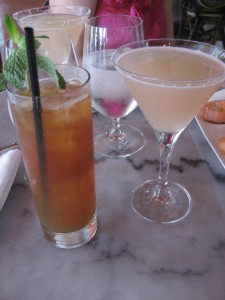 Evolving flavored iced tea (left), Cava mimosa (right)