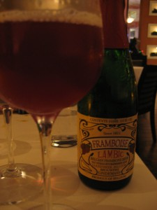 Framboise and Allagash beer cocktail