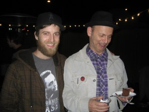 My boyfriend, Rory, and Wayne Kramer of MC5 fame. Kramer really wanted to eat his cake...