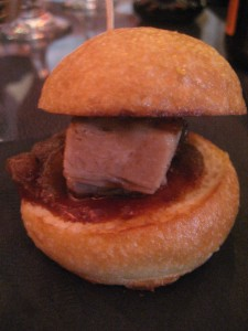 Pork belly slider with caramelized onion