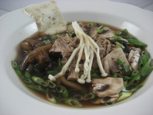 Veal, udon, kombu dashi, mushrooms and sesame seed miso