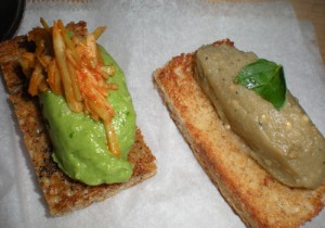 Broccolini bruschetta with kimchi (left) and smokey eggplant caviar hummus (right). From Hungry Hungry Hanh.