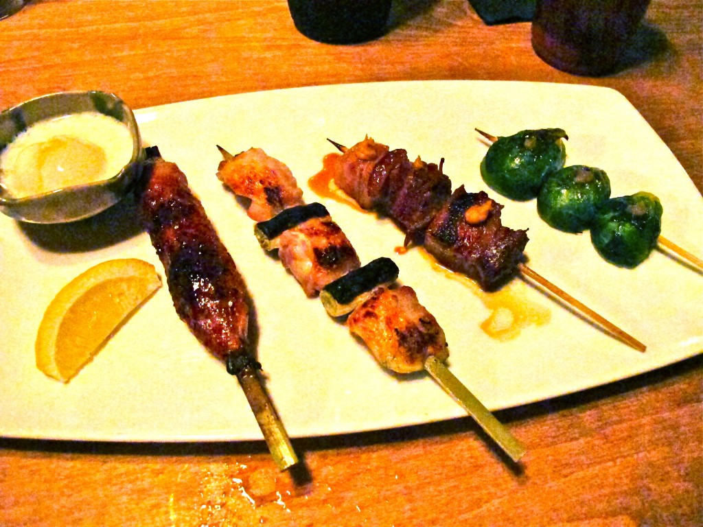 (From left to right) tsukune, negima, kakuni and Brussels sprouts
