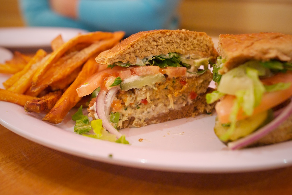 Crab cake sandwich at Veggie Grill