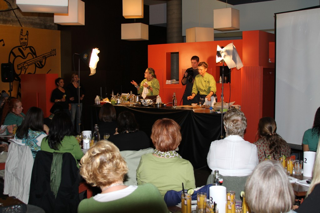 Chefs Susan Feniger (left) and Mary Sue Milliken teach a cooking class at Border Grill in downtown Los Angeles