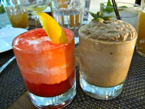 Peychauds Ice Cream and Sanbitter Float (left), Fernet and Chip Ice cream and Mexican Coke Float