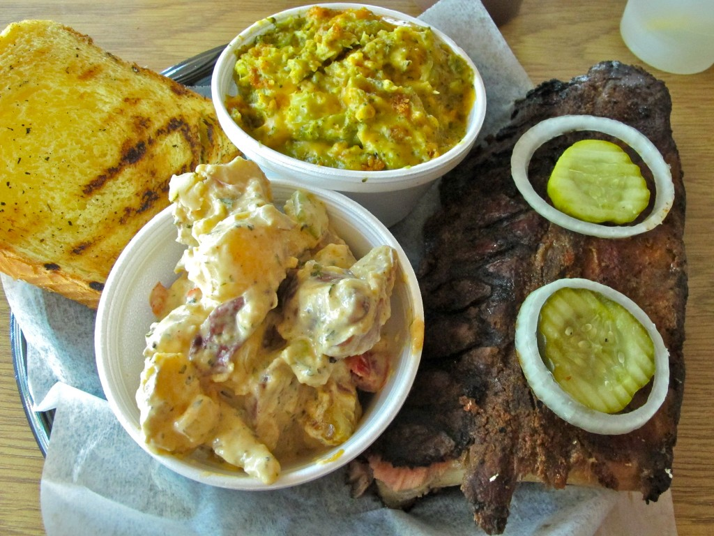 Potato salad, front, broccoli and cheese, and ribs at FABD
