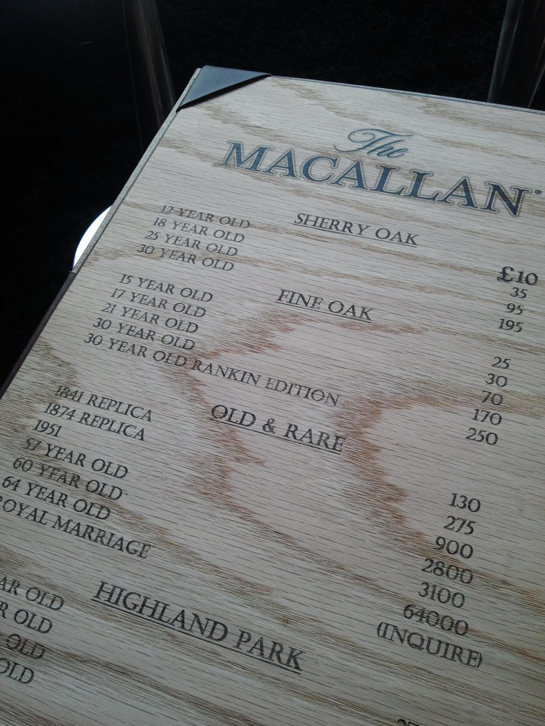 Ten Pound menu