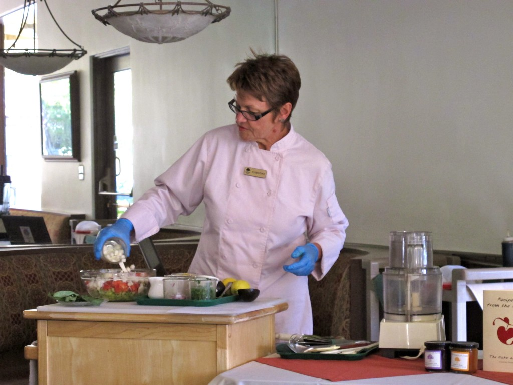 Chef Christine Denney gives a cooking demonstration