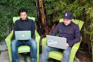 Founders Eddy Lu, left, and Daishin Sugano hard at work. Courtesy of Grubwithus.
