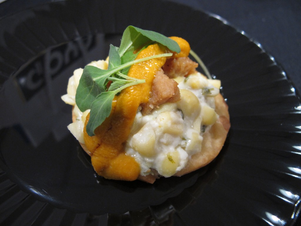 Mini sea urchin tostada with chicharron and esquites (Mexican street corn) from Cacao Mexicatessen