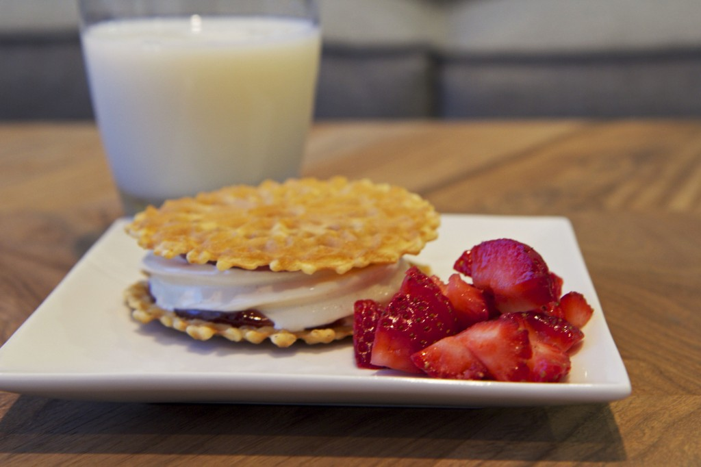 Pinkberry frozen yogurt peanut butter and jelly waffle sandwich