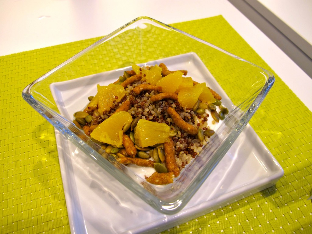 Pinkberrygreek power bowl with quinoa, sesame cracker, pumpkin seeds, oranges and agave combo