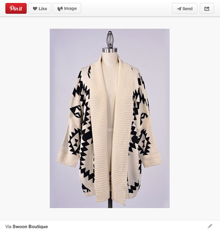 Aztec-patterned cardigan sweater