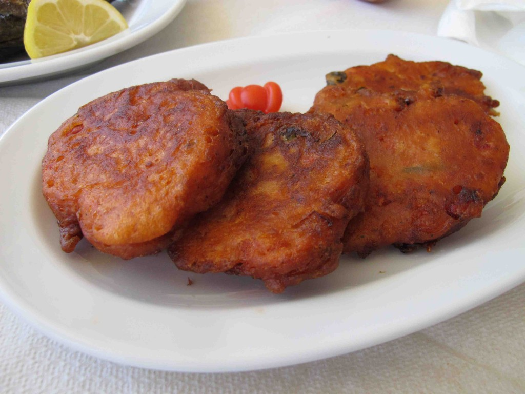 Tomato fritters at Melina's