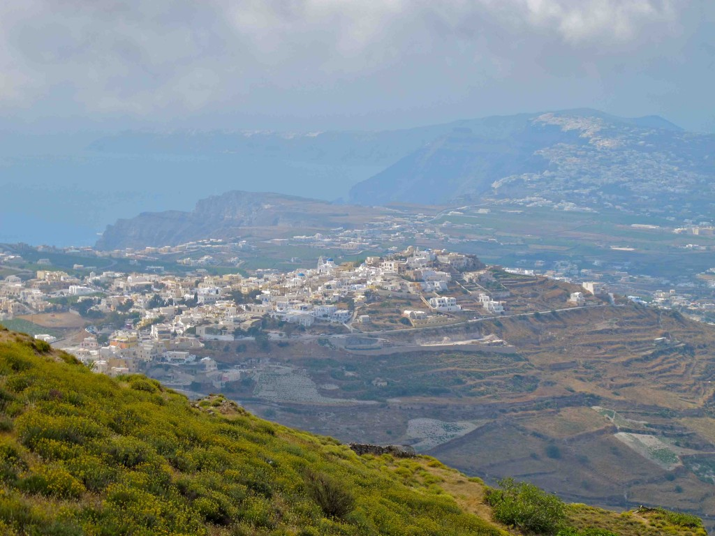 The view toward Fira from an overlook near Pyrgos
