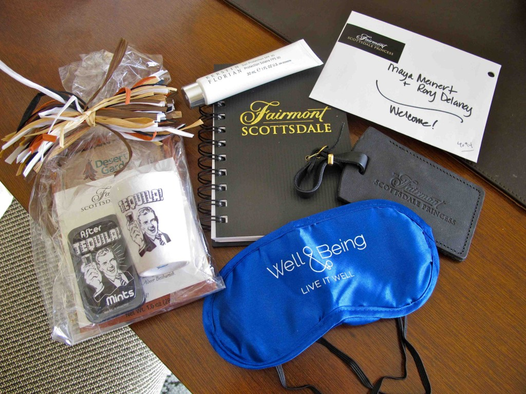Welcome amenities at Fairmont Scottsdale
