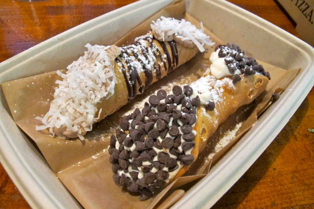 Ricotta cannoli, left, and chocolate cannoli