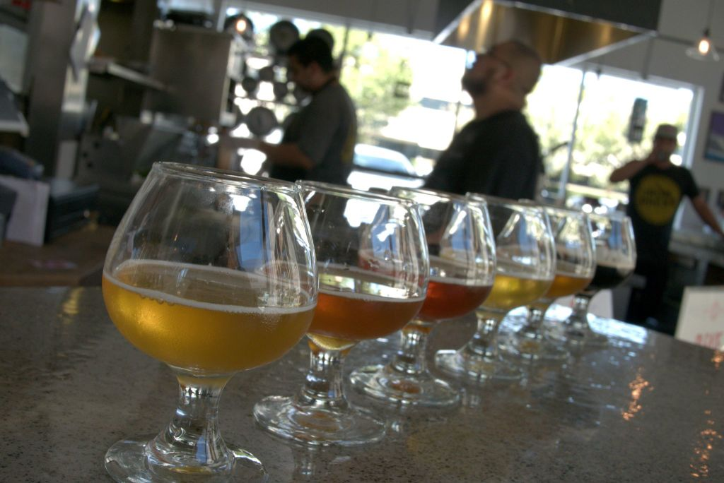 A beer flight at The Iron Press