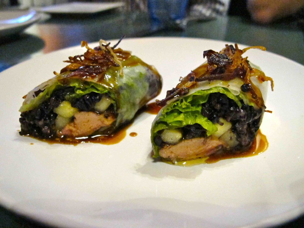 Seared foie gras roll